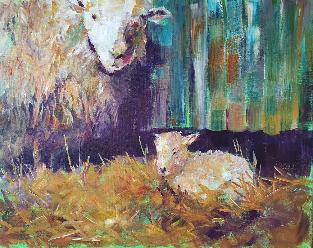 Acrylic on canvas, large brush strokes, colour, painting in an Impressionistic style
