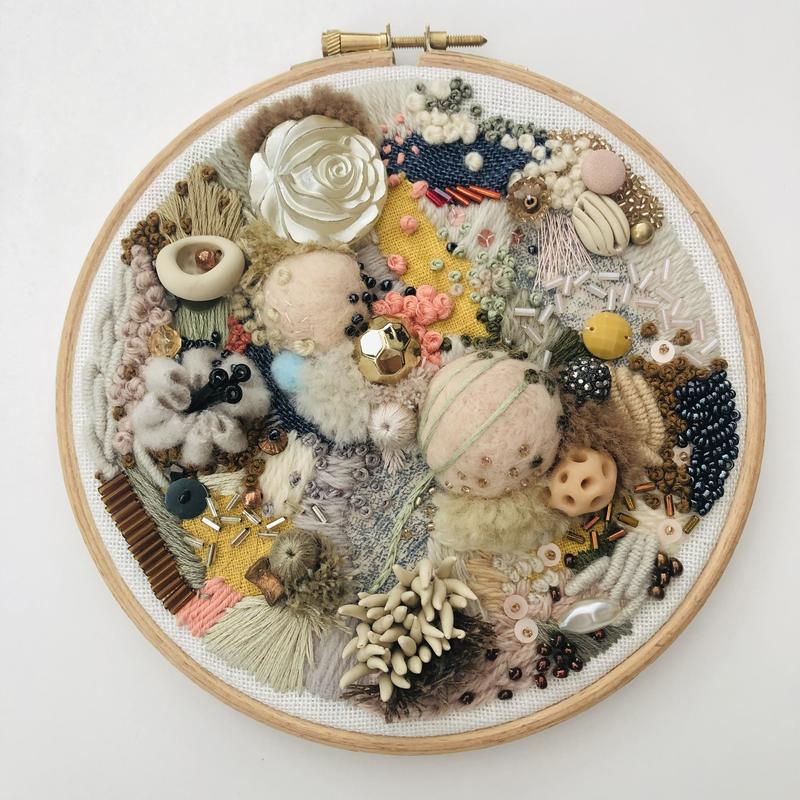 Abstract embroidery textile art, hoop 6 inches, neutral tones