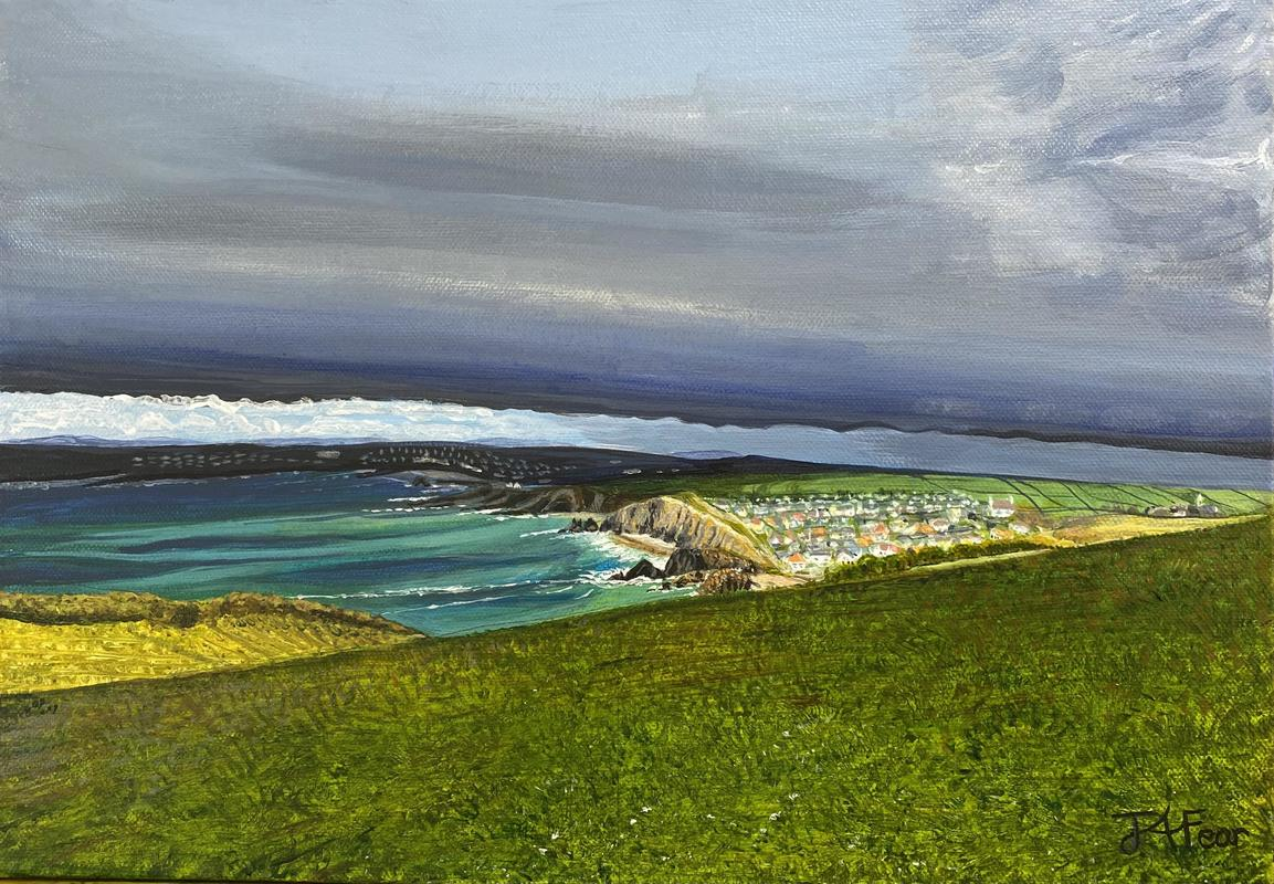 Cliff top view of Hope Cove - acrylics