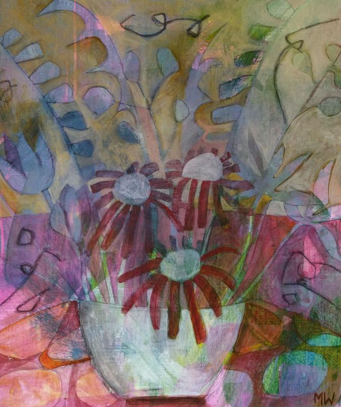 Acrylic painting on paper, framed, flowers in a bowl in misty purples