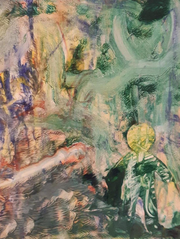Green painting, figure outline, abstract painting