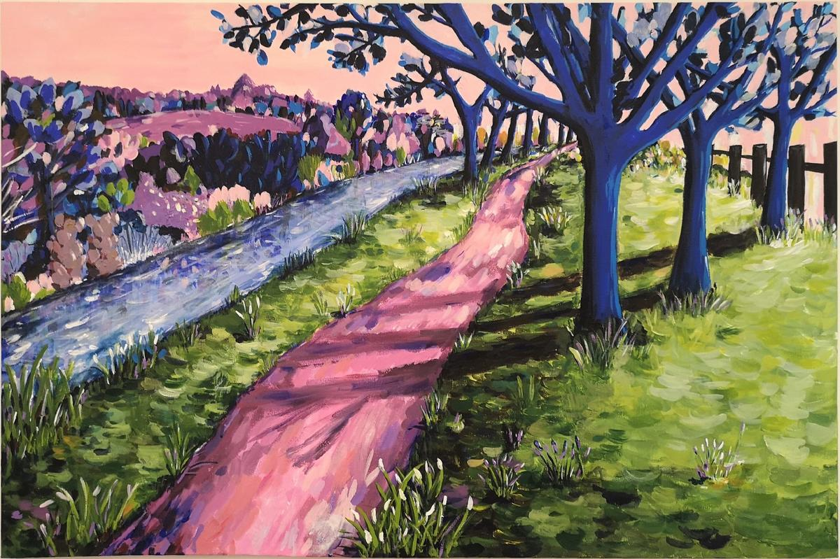 Once Upon a Woodland Walk landscape painting by Judy Century, imaginative abstract scenery with bright colours and expressive brushstrokes