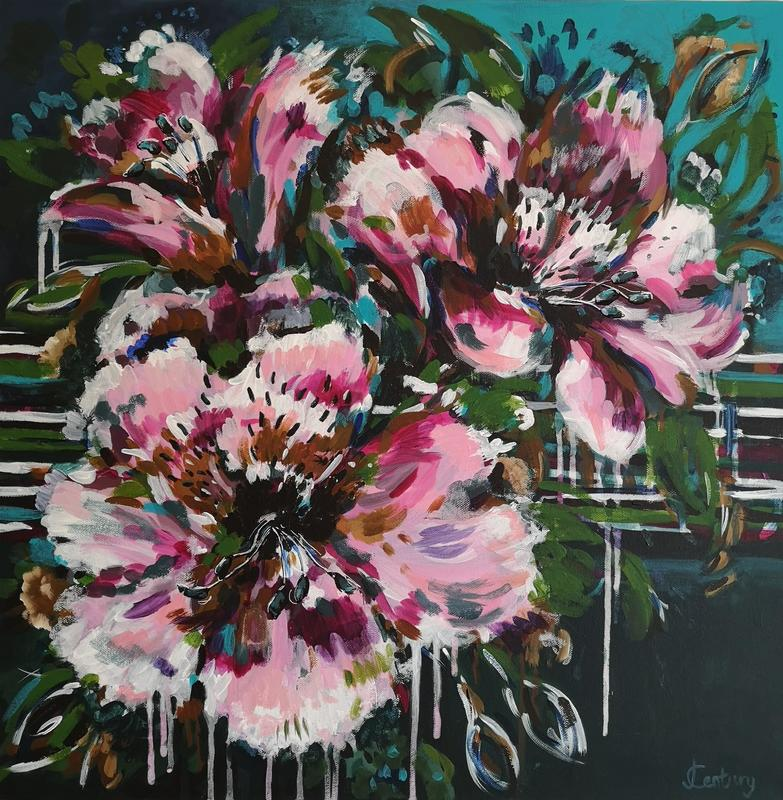 Abstract, expressive floral acrylic painting