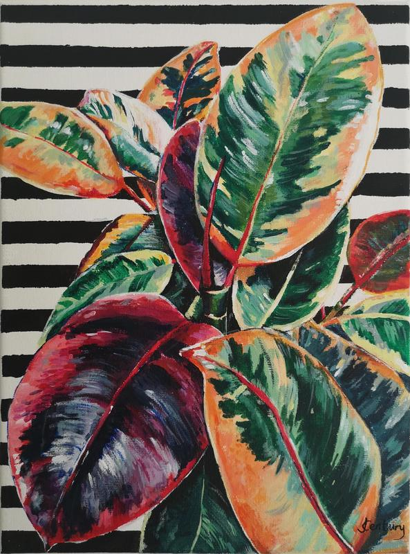 Striking Rubber Fig Plant, acrylic painting with contrasting black & white striped background