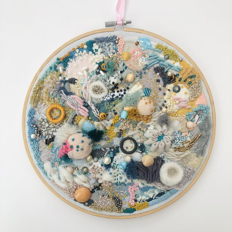 Abstract hand embroidery textile art