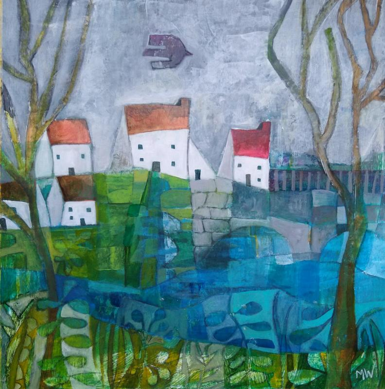 Houses and river, square acrylic abstract painting