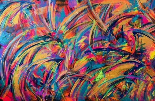 Acrylic abstract waves on canvas