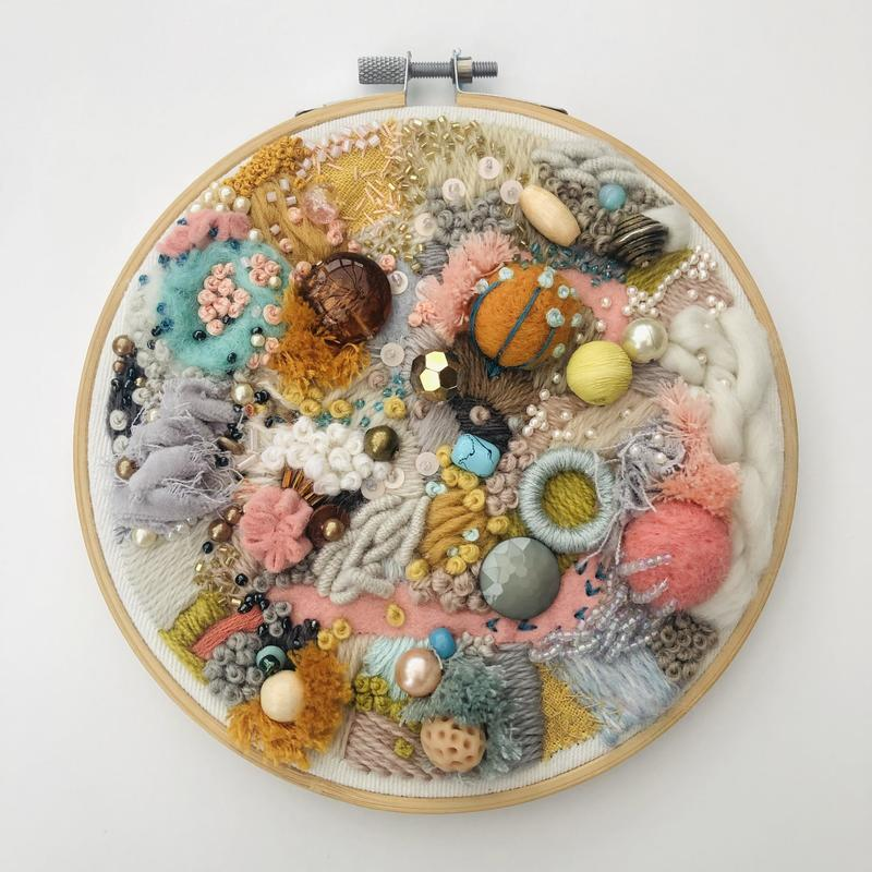 Abstract hand embroidery in pink and mustard, 6 inch hoop