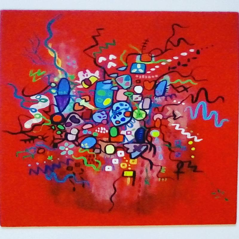 Tangled Up in Red	Abstract acrylic painting on canvas board	10x12 inches	£20