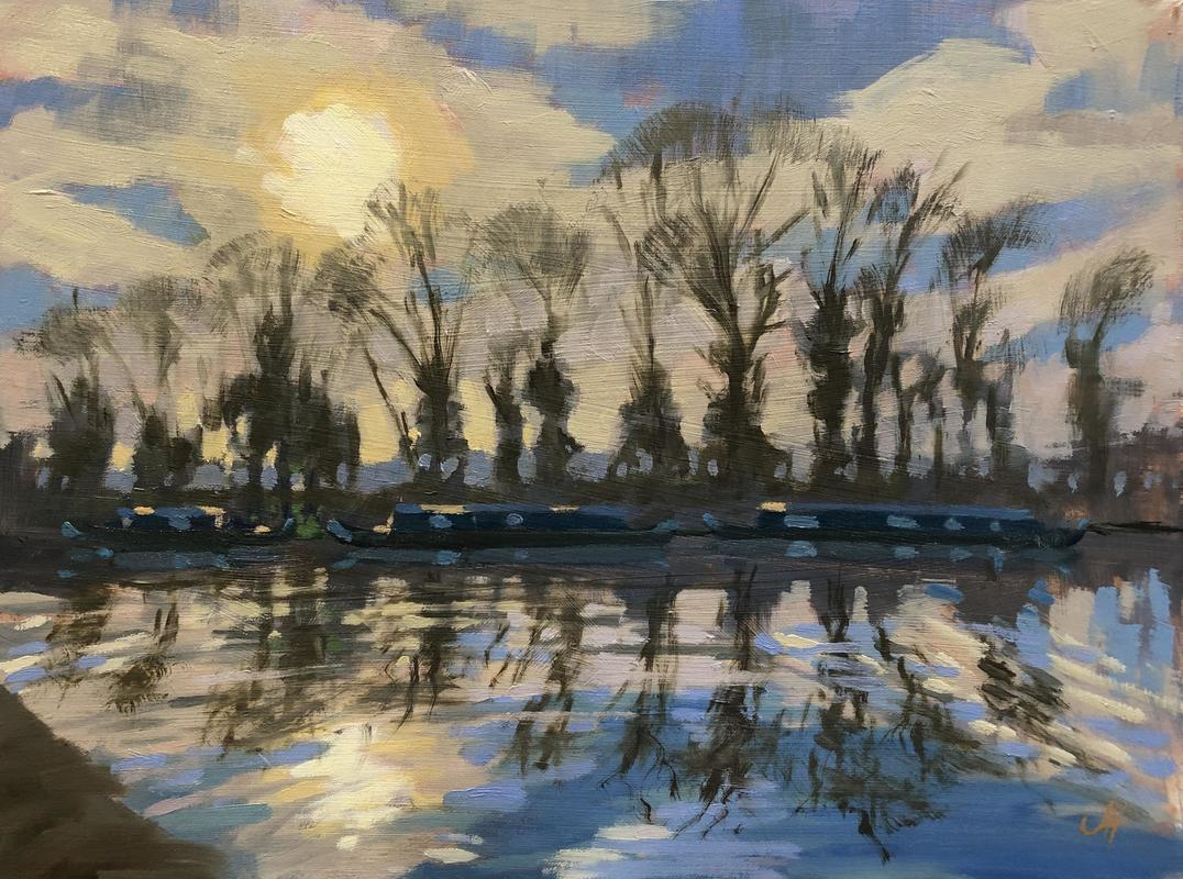Sun on water/reflections/canals/canal boats/light through trees/blues/evening light/serenenity