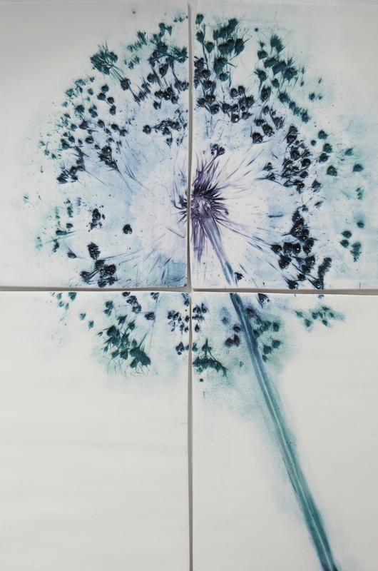 Allium on porcelain tiles with underglazes.