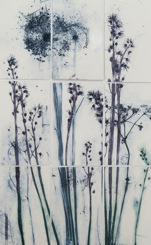 Alliums & Bluebells on series of 9 porcelain tiles with underglazes on canvas board, framed.