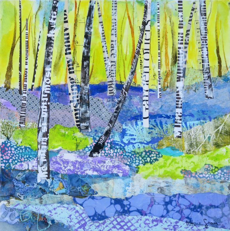 Bluebellwood, acrylic with collage using a variety of textures, hand printed papers and dynamic colours