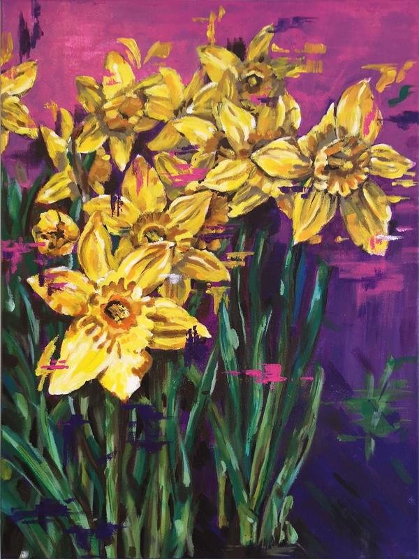 Vibrant original daffodil painting with contemporary pink and purple background