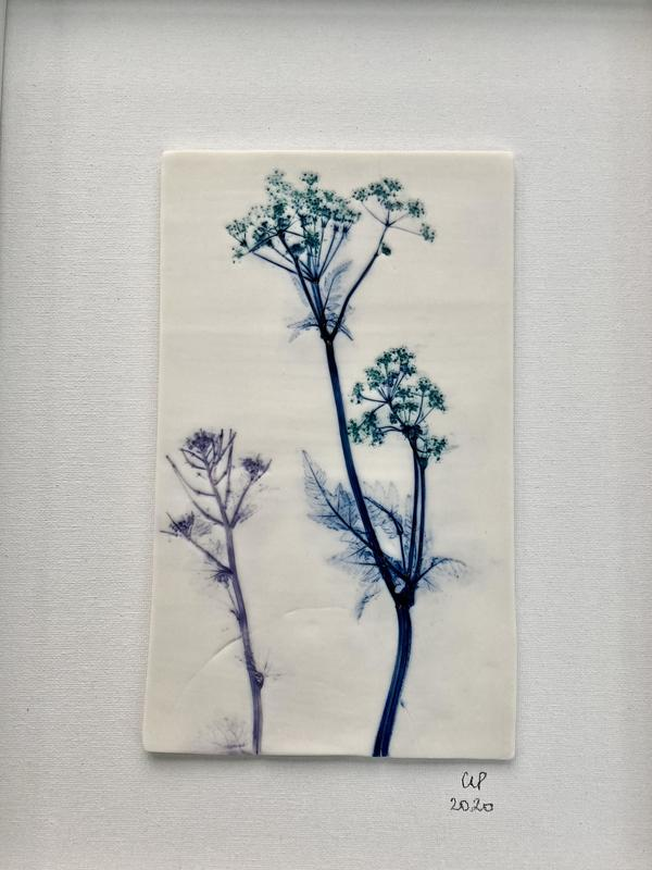 Green Cow Parsley  Framed porcelain tile with under glazes  42cm (h) x 31cm (w)  £100