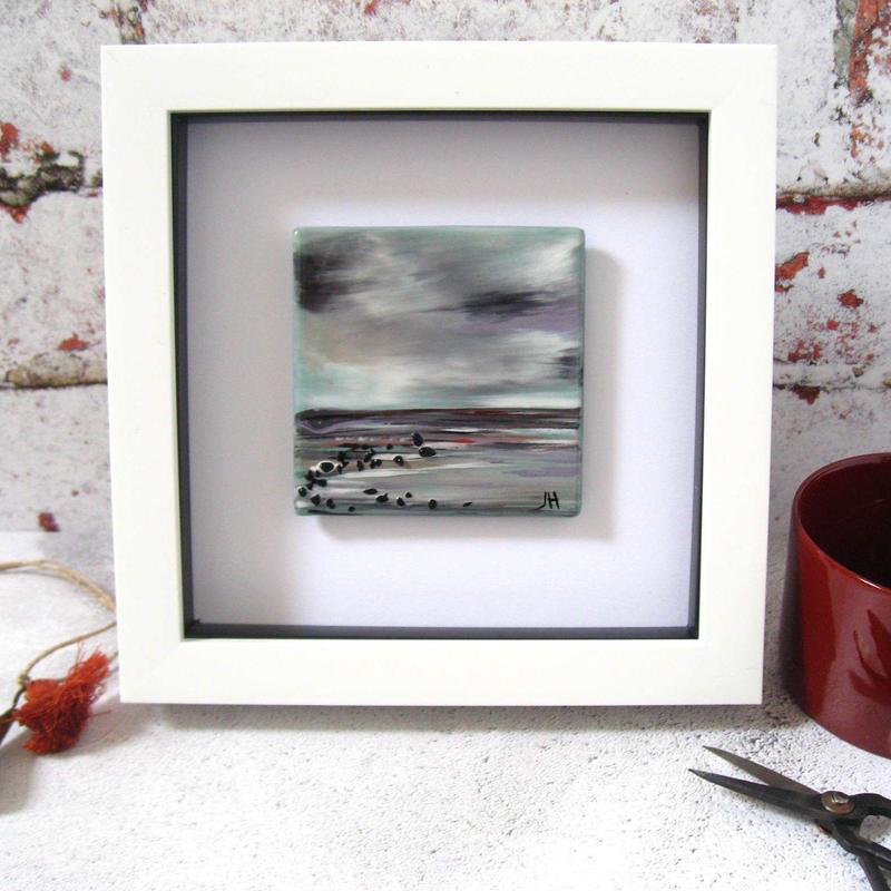 Landscape painted on glass, framed