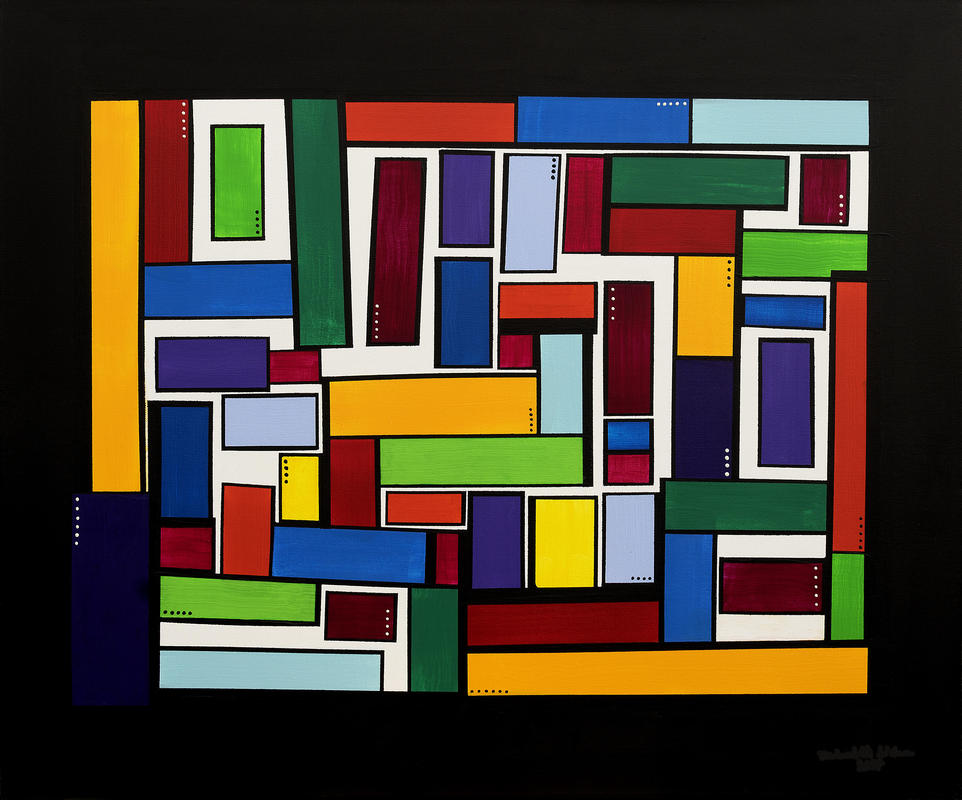 Colour Blocks	Sealed acrylic and wax on deep edge box canvas, jumble of coloured blocks	92 cm (w) x 76 cm (h)	£175