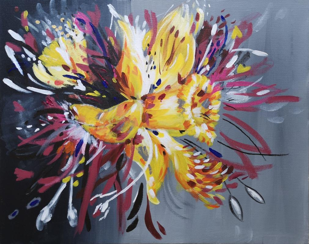 Daffodil Surprise, expressive abstract floral, acrylic on canvas