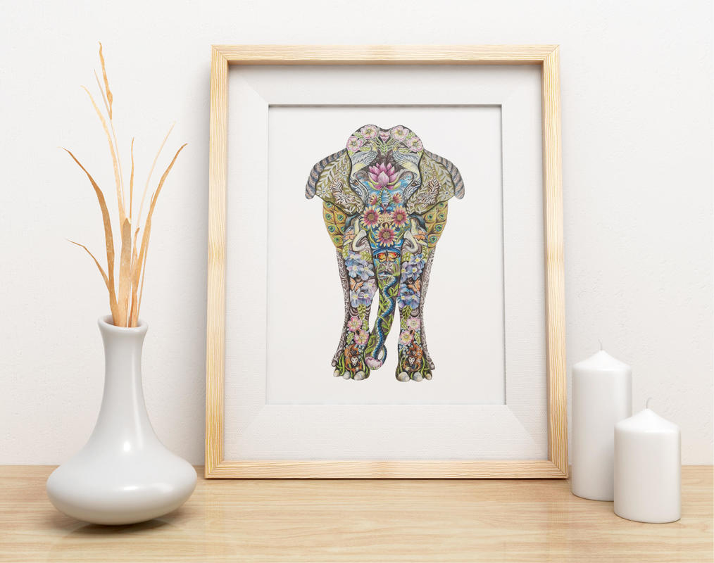 Mounted giclee print of a decorated Indian Elephant
