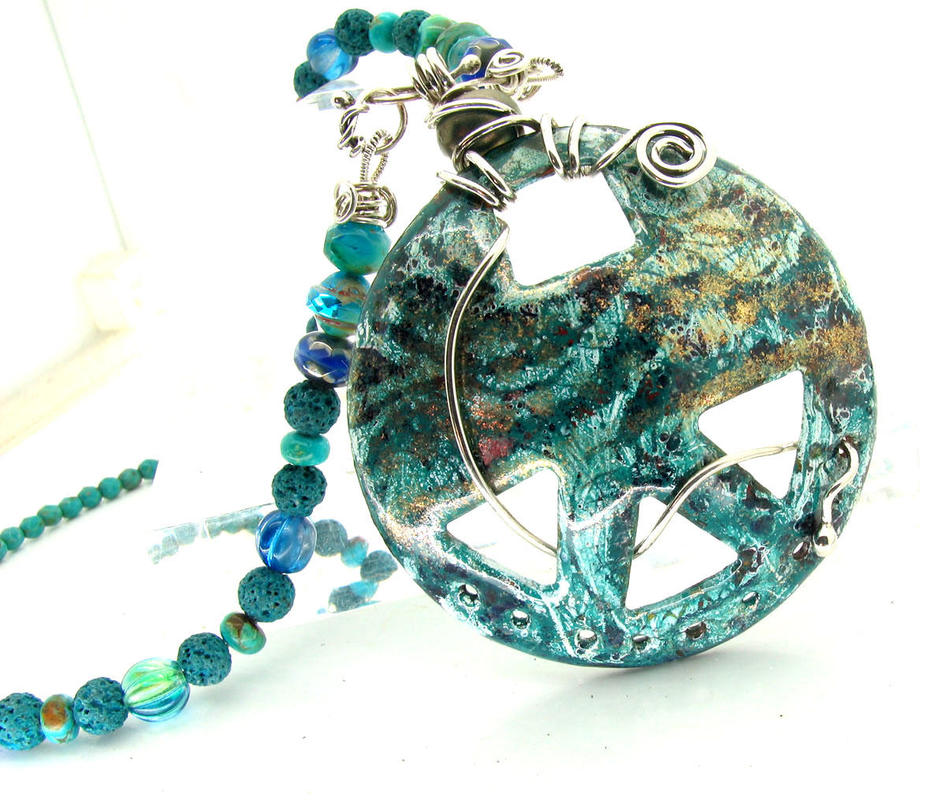 Enamel disc with beaded chain and silver