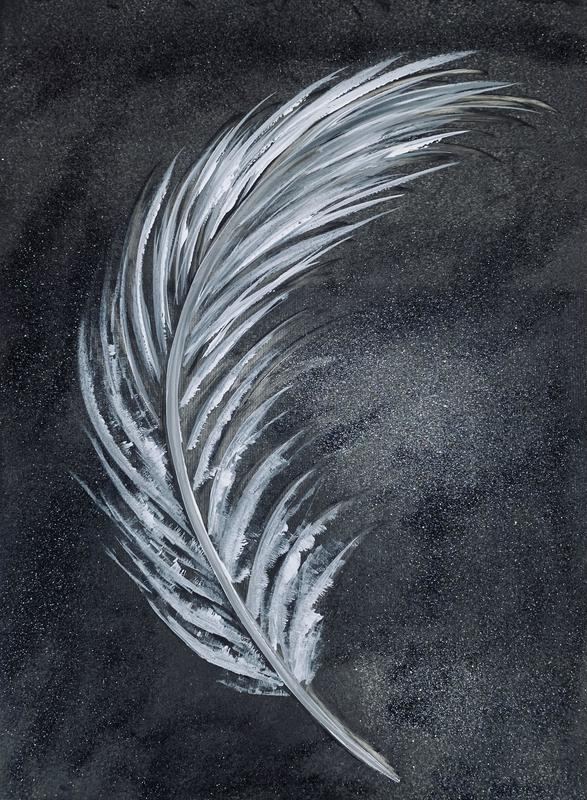 Acrylic painting of a white feather