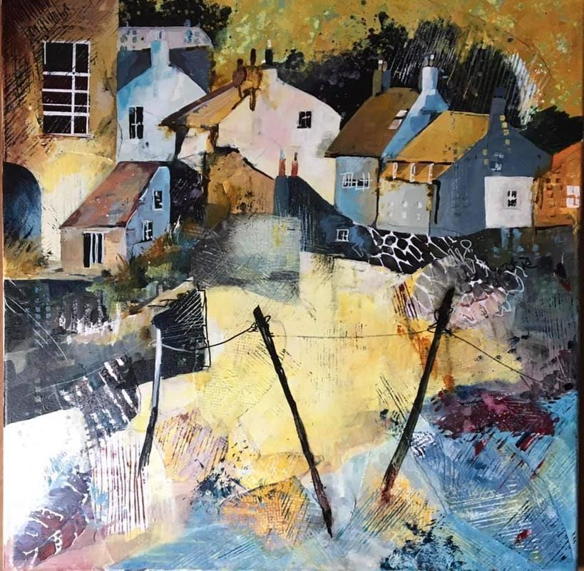 Abstract acrylic and handmade collage, Staithes
