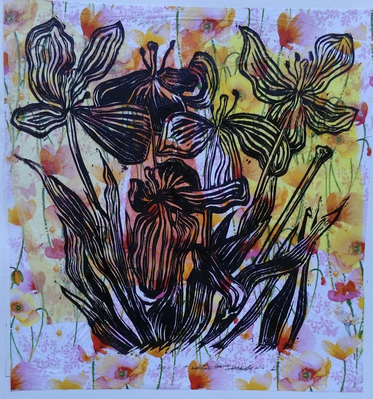 Lino Print on chine colle