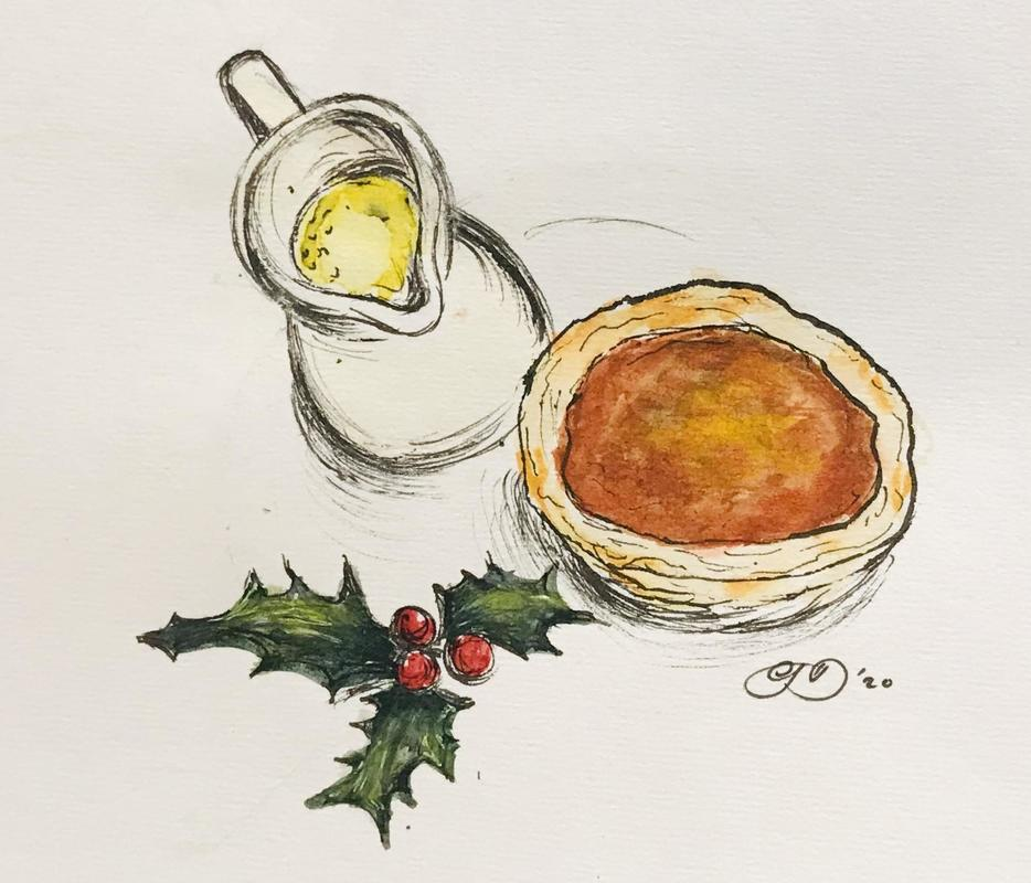 Christmas Bakewell Pudding and Custard. Ink and watercolour of a festive Bakewell pudding with a jug of custard and a sprig of holly	15cm x 10cm.  £30 mounted