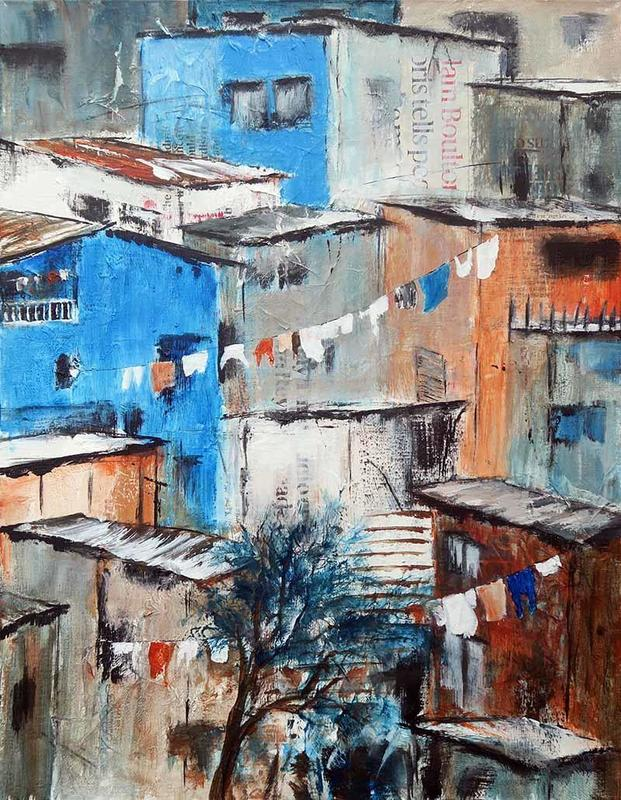 Hillside Town, Acrylics with collage, dynamic colours , harmonious