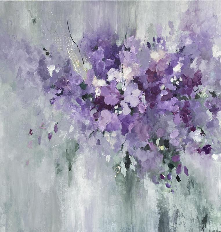 Shades of Violet  Acrylic on Canvas. Framed in Floating Frame  60cm x 60cm  £350