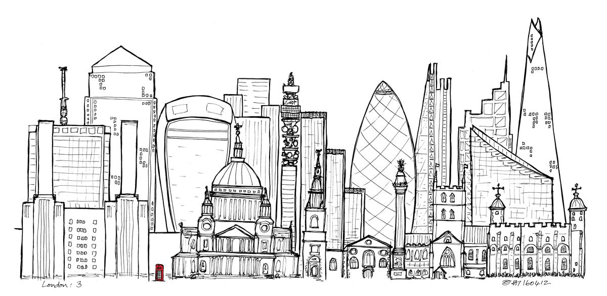 London - A story of tallest buildings  Limited Edition (of 10) Fine Art Print  A2 paper  £65