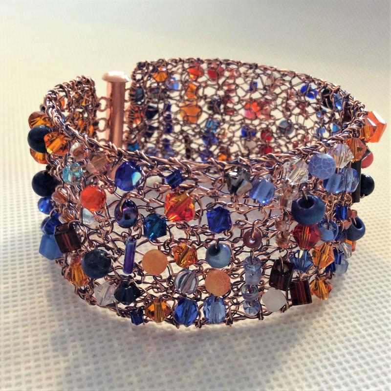 Orange & blue bracelet with copper clasp