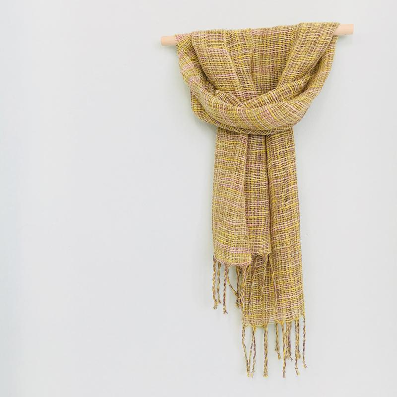 Handwoven cotton scarf made with hand dyed yarns