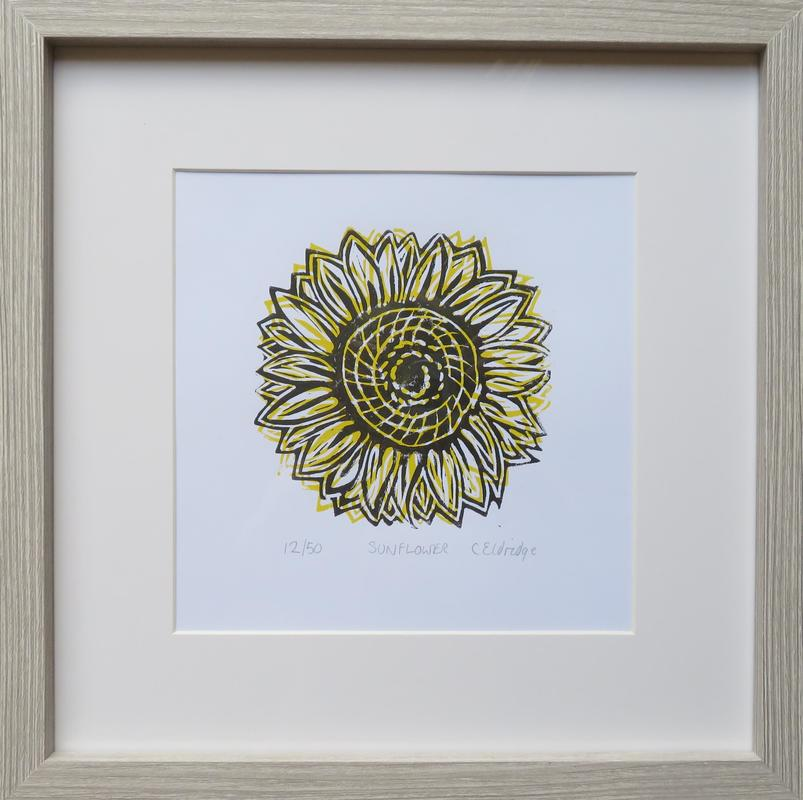 Sunflower framed limited edition linocut print