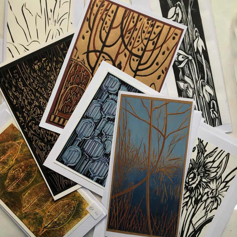 A5 and A4 Lino printed cards