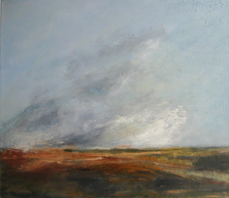 A mixed media painting based on Norfolk landscape