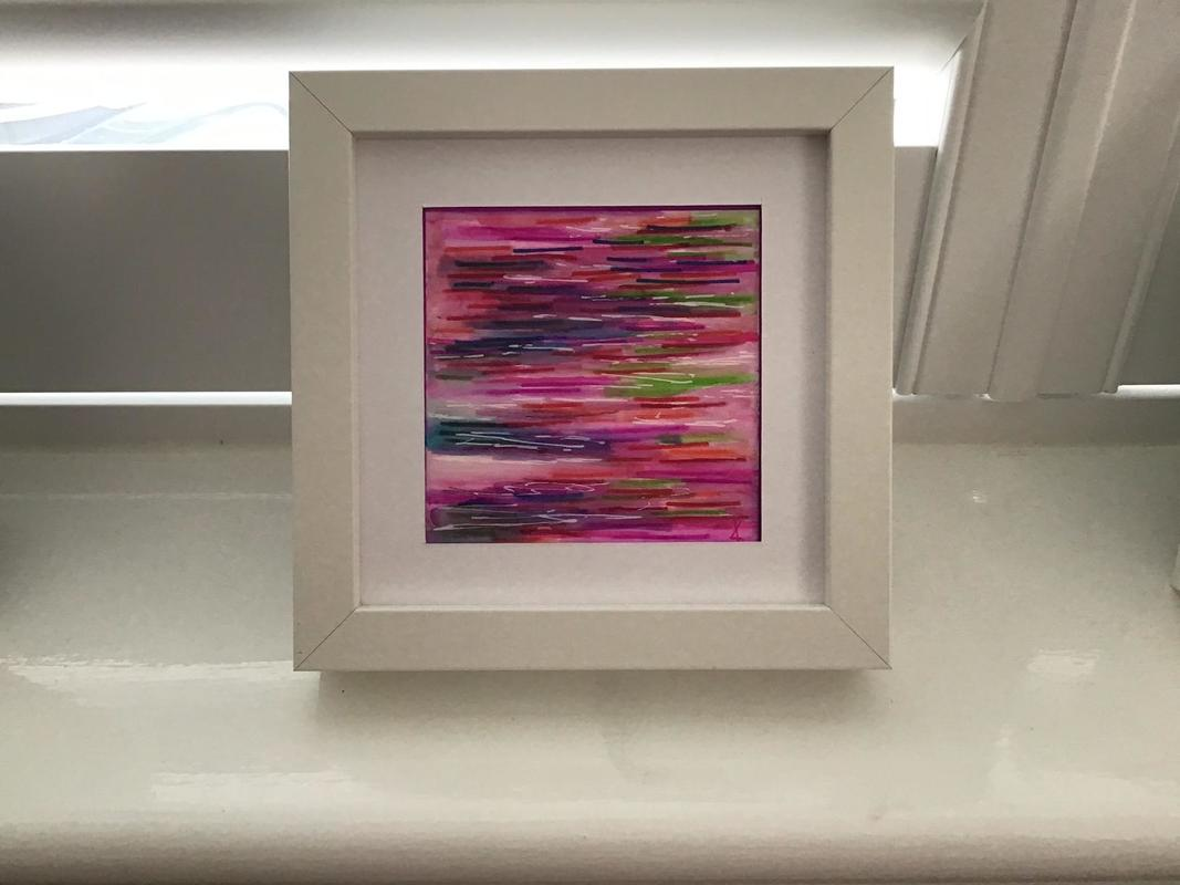 Lively colours in an abstract inspired by reflections in water