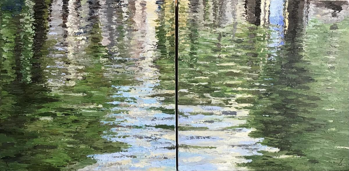 Subtle shades show the pattern of reflections in water; abstracted impressionist inspired acrylic painting