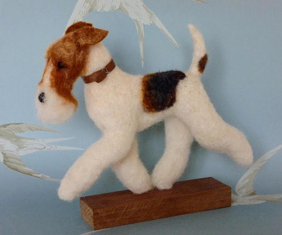 Wire Fox Terrier	needlefelted sculpture	24cms height, 25cms length, 7cms width	£75 (free UK p&p)
