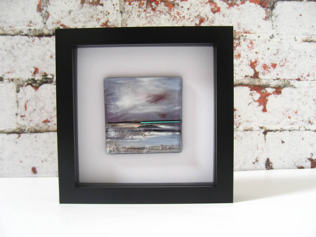 Winter Coastal Landscape	Mini hand painting in enamels, fired into the glass in a kiln	Mini Landscape 8 x 8cm. Framed 17.5 x17.5cm	£45