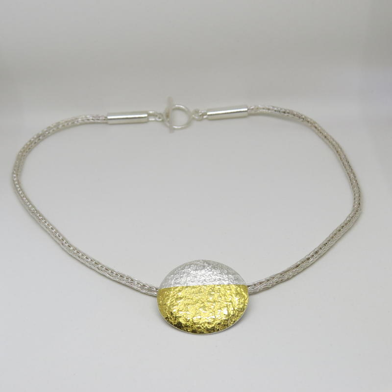 Silver and gold chain necklace with pendant