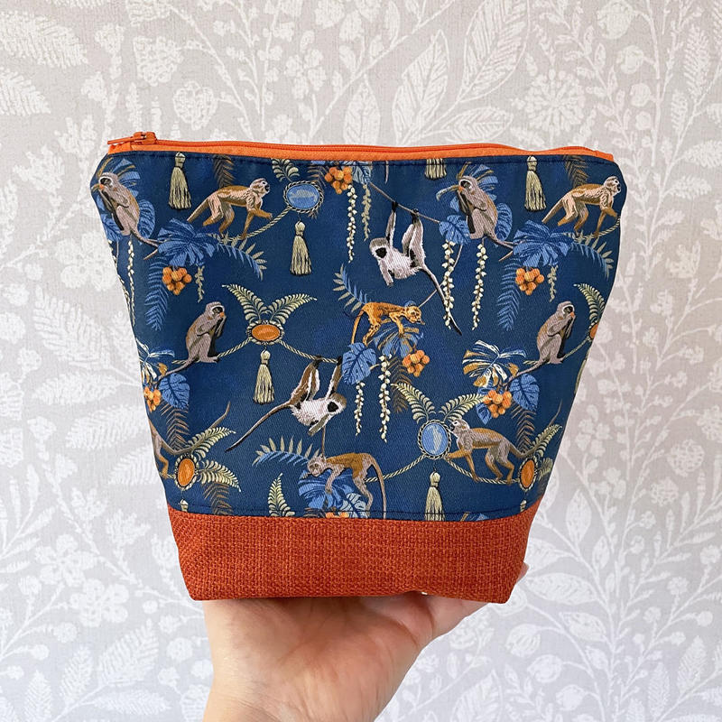 Beautiful and useful hand sewn pouch with monkey design