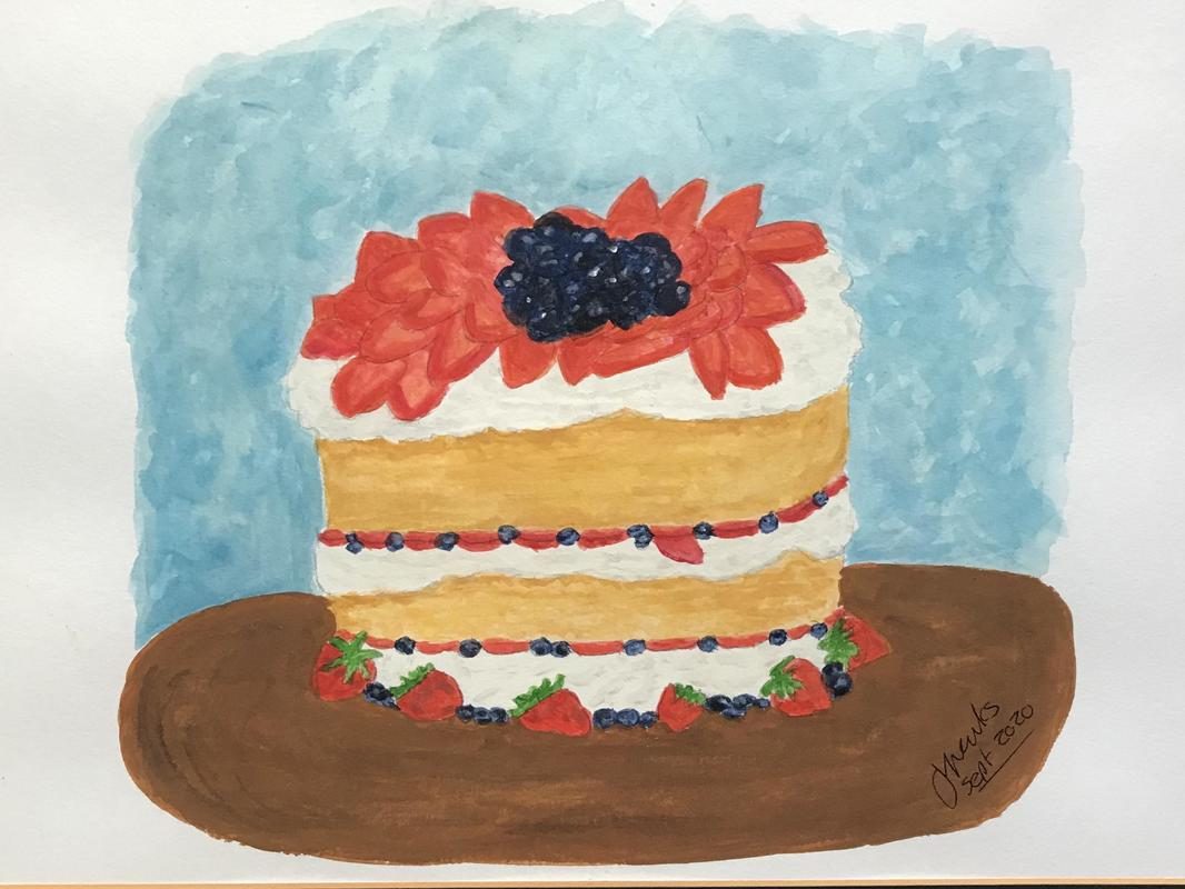Celebration cake	Summer fruits cake in gouache	36cm x 26 cm	£58