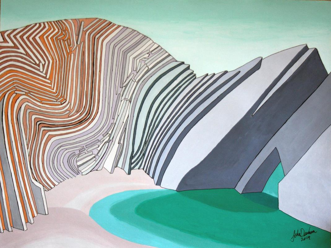 Limited edition giclee print of the folded beds of the Stairhole, Lulworth Cove