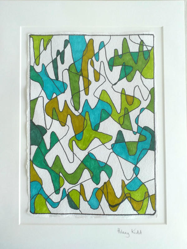 Colourful abstract work of interlocking curvy lines