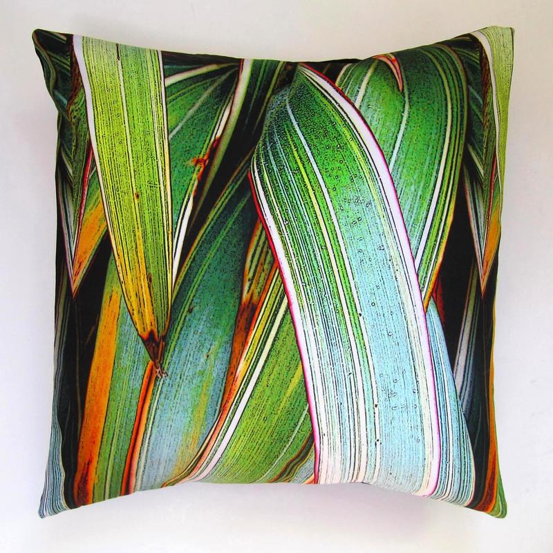 Green Phormium Cushion, digitally printed cotton with a feather pad