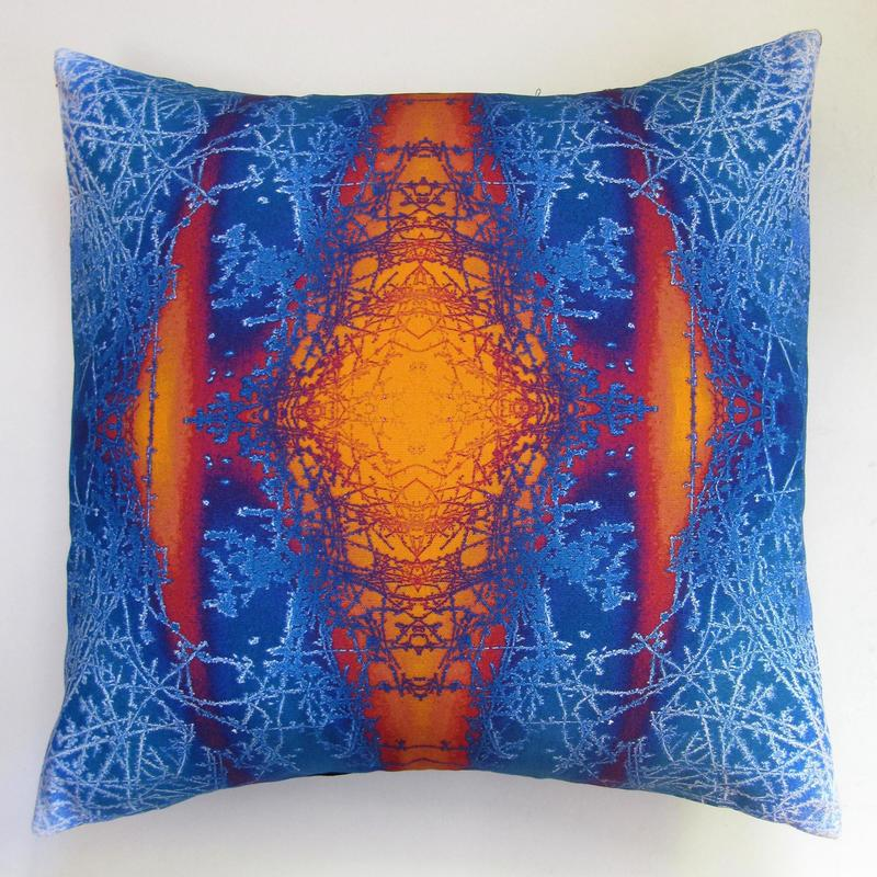 Ice Cushion, digitally printed on cotton with a feather pad, the design was developed from a photo of ice on my car
