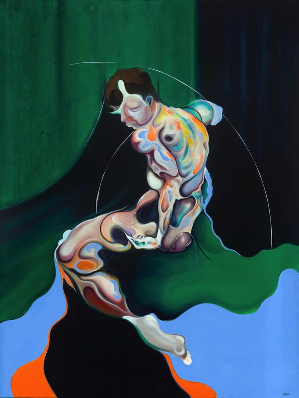 A beautiful surrealistic oil painting of a human figure.