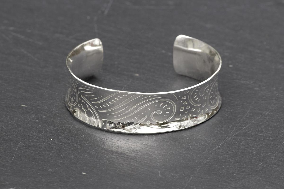 Sterling silver cuff bangle with mandala pattern