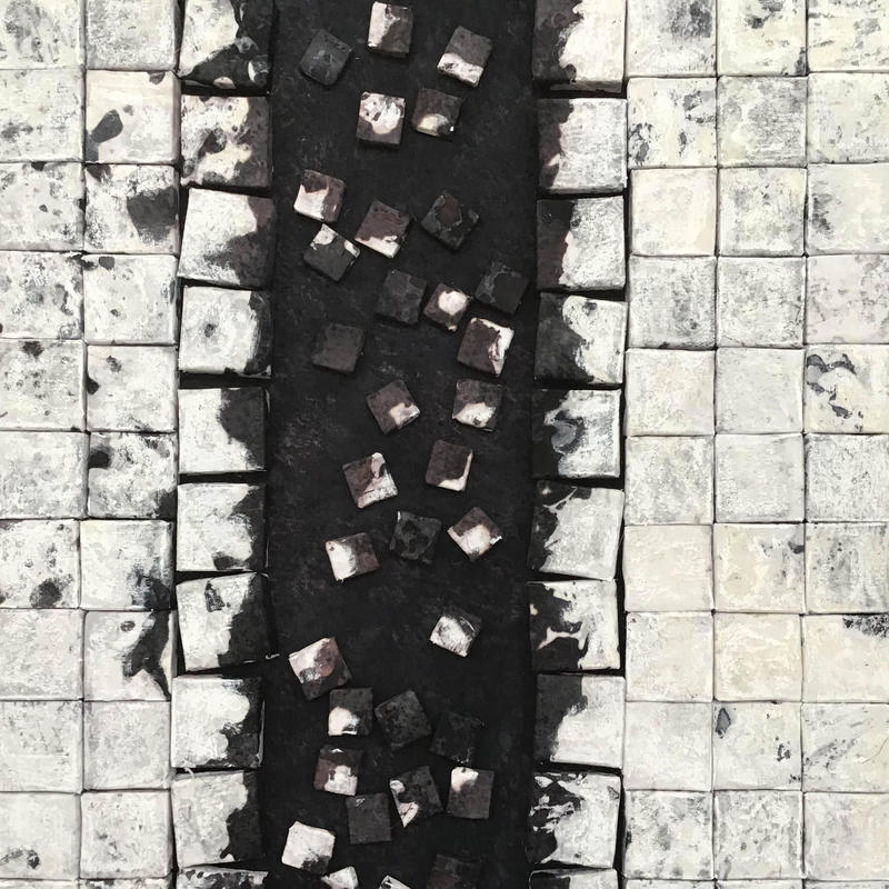 Black & white textile art inspired by tyre tracks in the snow